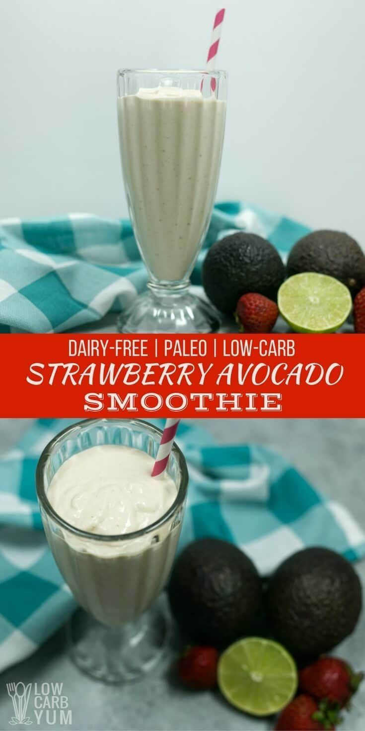 An easy to make strawberry avocado smoothie that's low carb, paleo, and keto friendly. It's also dairy-free but tastes so creamy, you'd never know.   LowCarbYum.com via @lowcarbyum