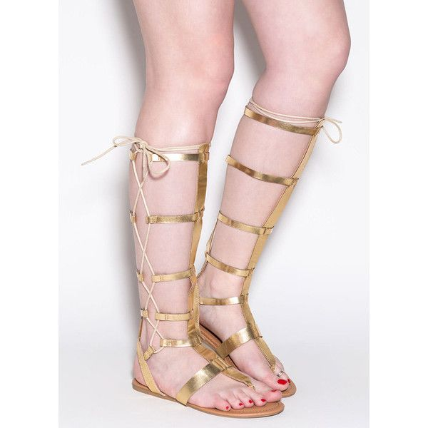 Side Chick Metallic Gladiator Sandals GOLD ($27) ❤ liked on Polyvore featuring shoes, sandals, metal, strappy sandals, gold shoes, long gladiator sandals, greek sandals and gold lace up sandals