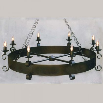 Merlin medieval wrought iron cartwheel chandelier 8 light can make a cardboard version w - Can light chandelier ...