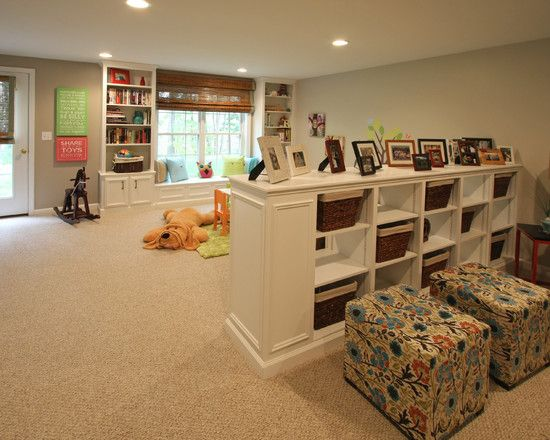Basement ideas (I like the half wall storage idea! Could be useful for room separation/definition.)