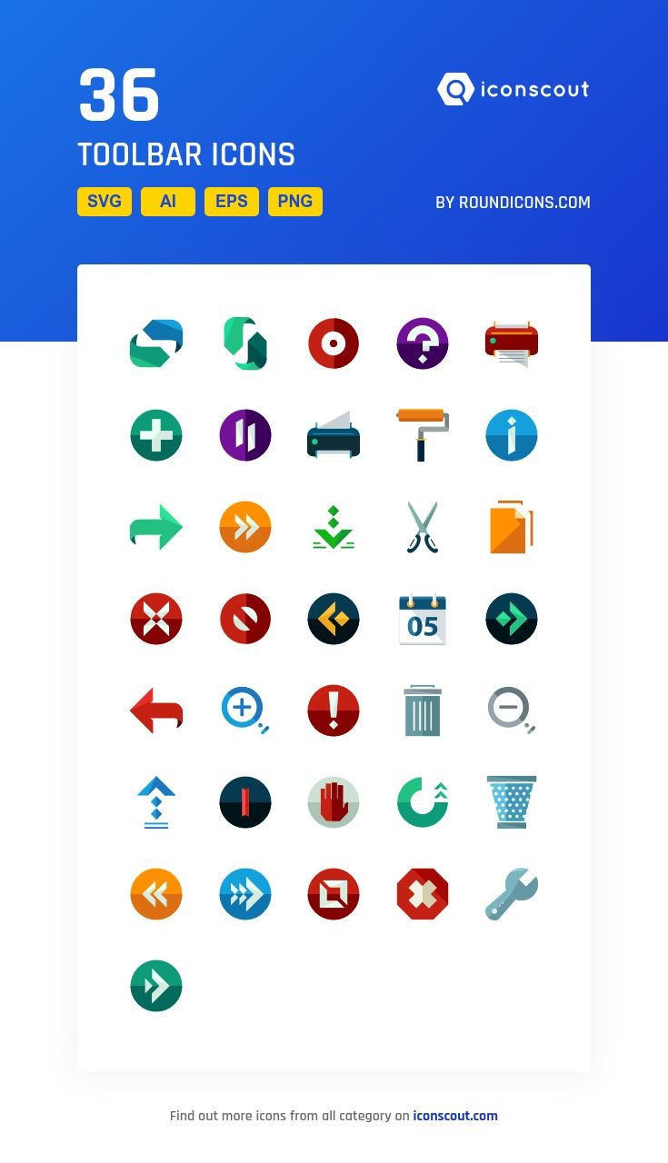 Toolbar  Icon Pack - 36 Flat Icons