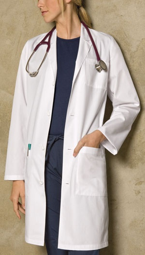 """Dickies Medical. Unisex Fit lab coat features a notched collar and a four front button closure. Also featured is one chest pocket, two lower patch pockets with side entry for easy access to pant pockets. A back yoke and kick pleat complete this coat. Center back length: 40""""."""