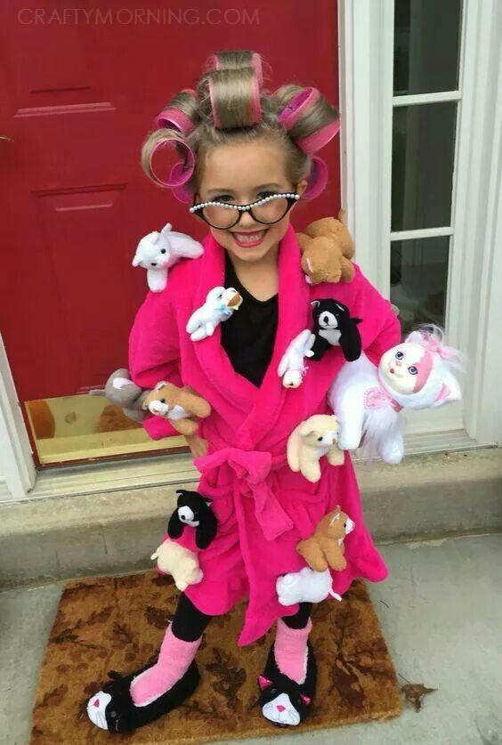 crazy cat lady halloween costume diy use a robe slippers fuzzy socks stuffed animals and hair rollers to create this fun simple look - Cute And Clever Halloween Costumes