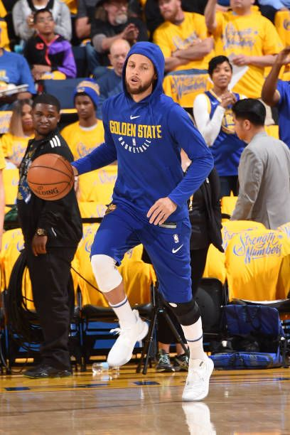 080b14351b16 Stephen Curry of the Golden State Warriors warms up before the game against  the San Antonio Spurs in Game One of Round One during the 2018 NBA.