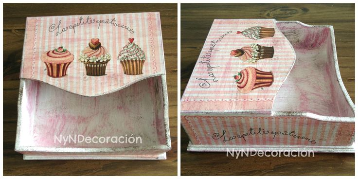 Paper napkin holder. Decoupage cupcakes
