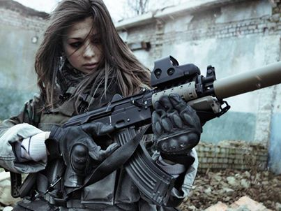 Rifle / woman / soldier/ awesome.