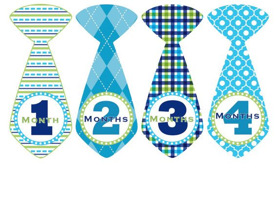Monthly Baby Stickers Baby Month Stickers Blue Tie Milestone