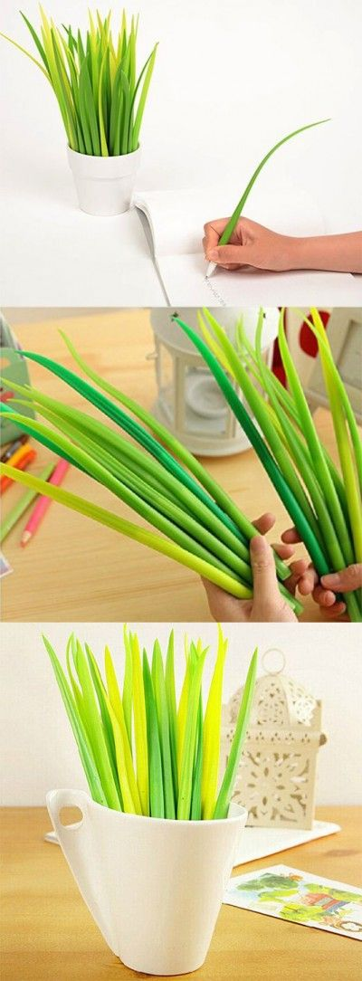 Brighten Up Your Desk with Pooleaf Grass Pens ~ This pack of 12 grass leaf shaped pens come in 3 different shades and brightens up any boring office desk.