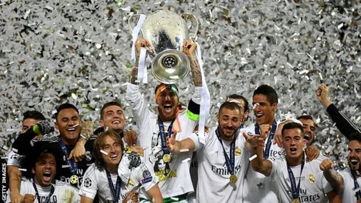 Real Madrid's players celebrate winning the Champions League