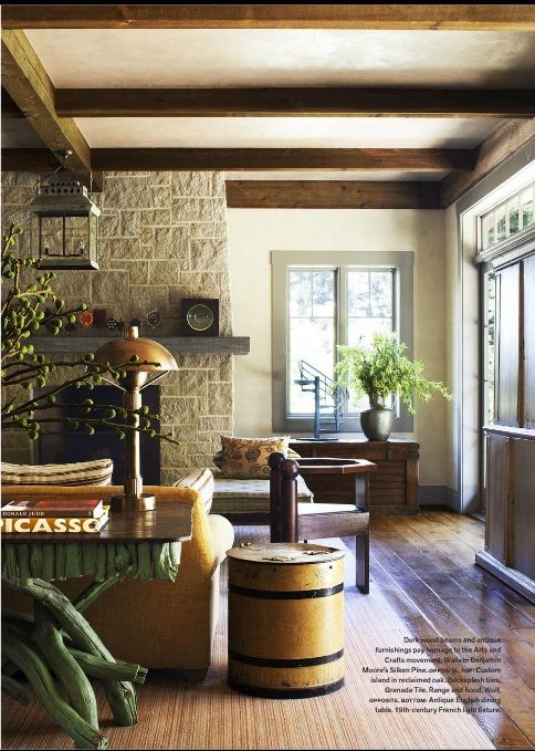 Amazing Interesting Things: Ashlar Cut Stone, Wood Trim At Windows Is Painted  Darker Than Walls, Color Of Hardwood And Beams, Neutral Walls, Northern  California ...