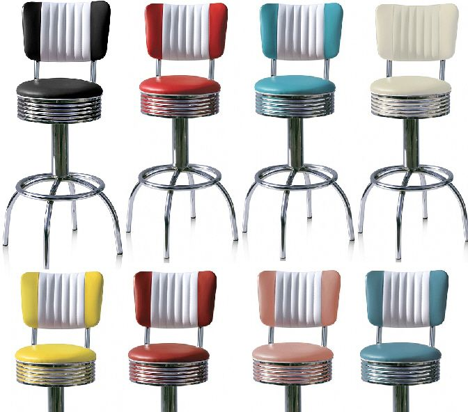 50s diner bar stools, love all those colours!