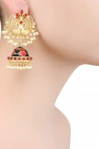 Gold Finish Peacock Jhumki Drop Earrings #gold #pearl #Jhumki #earrings #Justshraddha #ppus #perniaspopupshop #happyshopping