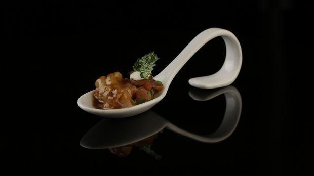 Kaisergranat auf orientalischem Salat mit Knoblauchcreme und Hähnchenchip - The Taste - Sat.1