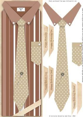 Brown Spots n Stripes Shirt Tie Lrg DL Topper on Craftsuprint designed by Jean King - Brown Spots n Stripes Shirt