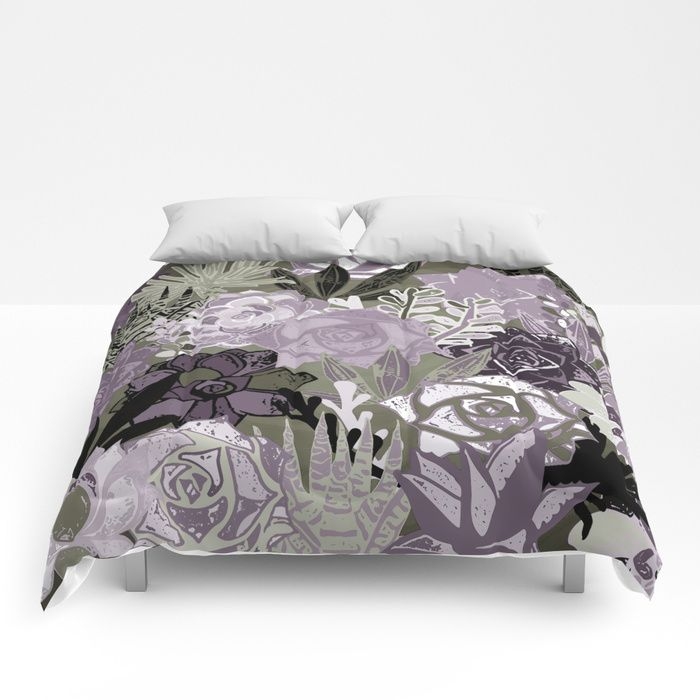 Succulents art. Our comforters are cozy, lightweight pieces of sleep heaven. Designs are printed onto 100% microfiber polyester fabric for brilliant images and a soft, premium touch. Lined with fluffy polyfill and available in king, queen and full sizes. #succulents #society6 #sboar #garden #art #bedroom #duvet #flower #floral #violet #ultraviolet
