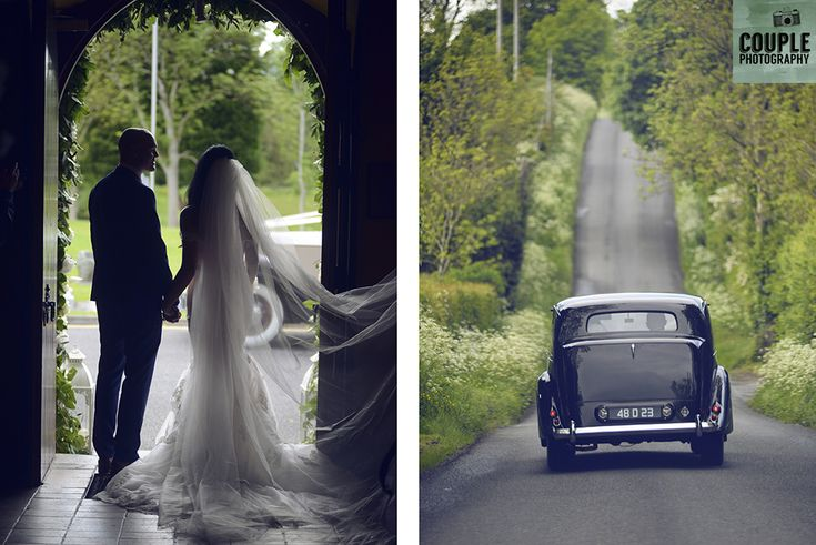 The bride & groom in silhouette at the church door. Weddings at Cabra Castle photographed by Couple Photography.