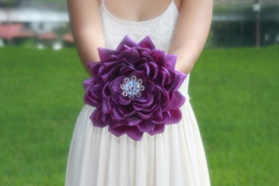 brooch bouquet alternative glamelia purple  by TheCrystalFlower, $175.00