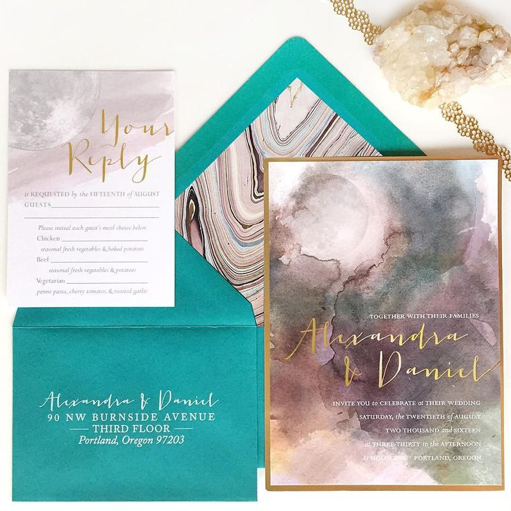 custom wedding invitations nashville%0A Custom Wedding Invitation Set  Geode Design  Marble Water Color  Gold Trim  and Foil