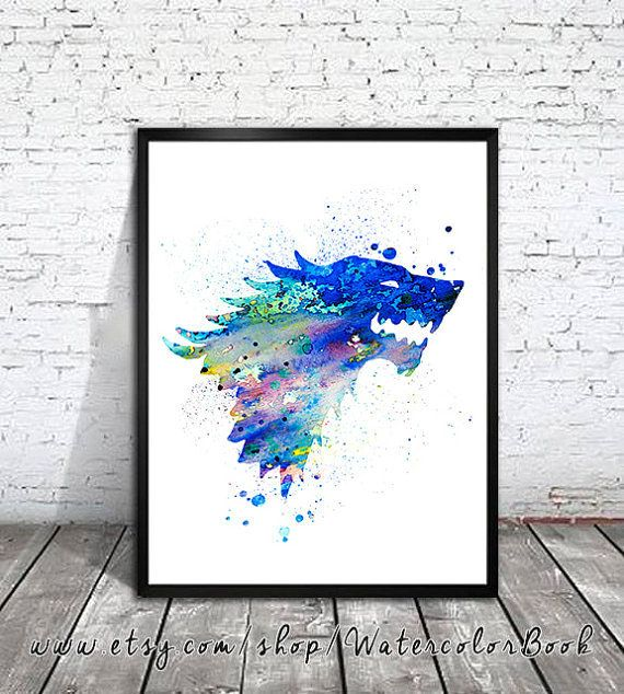 """House Stark Watercolor Print 
