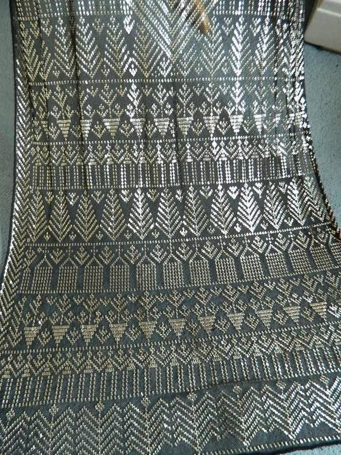 """Stunning antique black & silver 1920's Egyptian Assuit shawl - 30"""" x 88"""""""