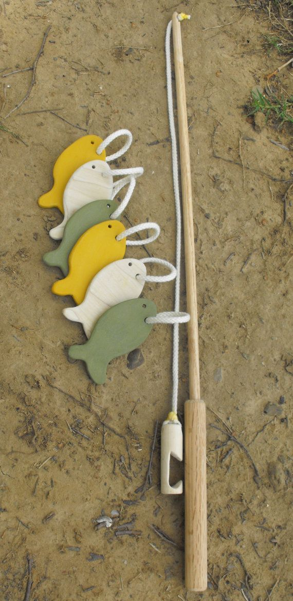 Wooden fishing set.