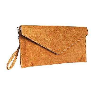 Lucia Italian Tan Leather Envelope Clutch Bag - £19.99