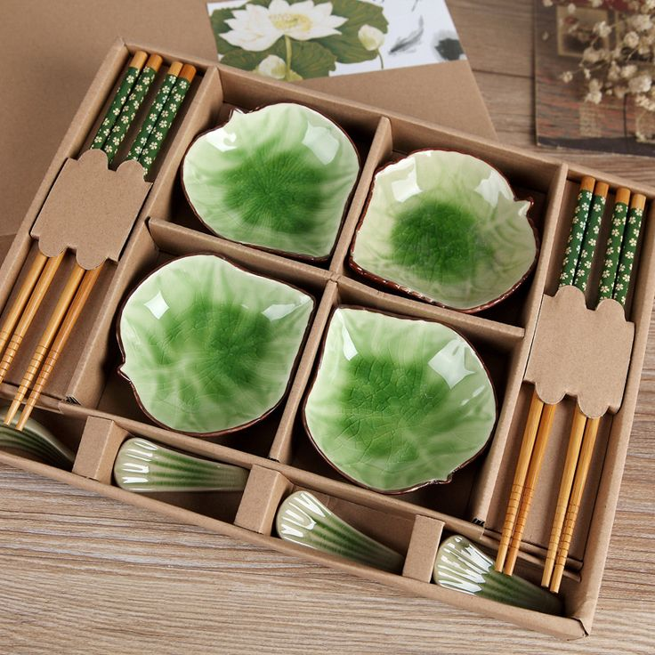 Ceramic Set chinese style gifts Cutlery Set Bamboo tableware Ceramic bowl Small dish pure color bamboo cutlery tableware Crafts