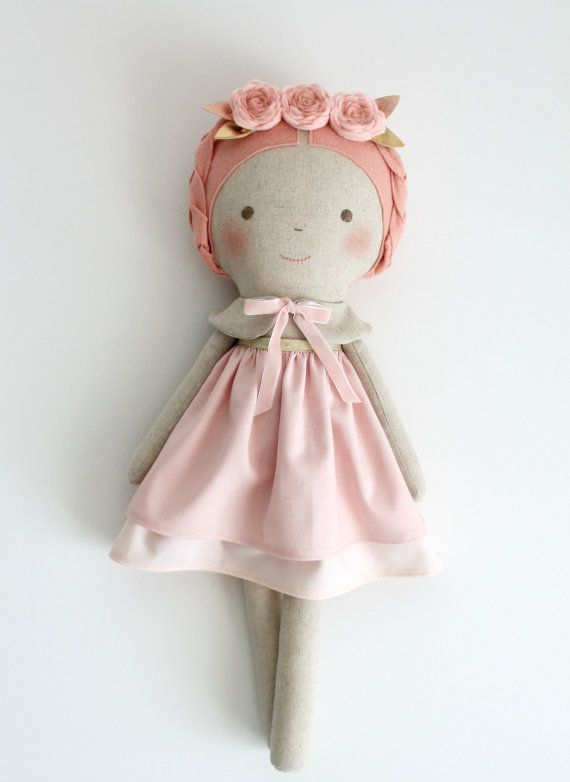 Pink & gold doll. Rag doll. Linen and cotton handmade by blita