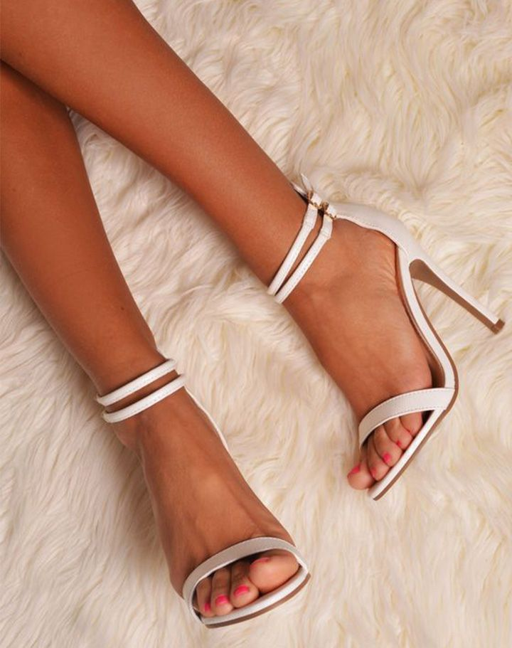 neutral strappy sandals prom shoes