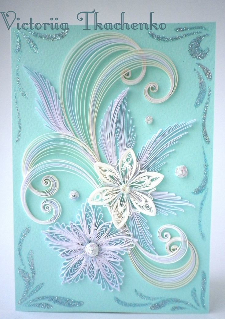 Quilling Greeting card, Christmas quilling card, New Year quilling card