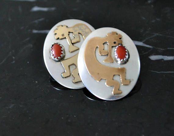 Kokopelli Earrings NAVAJO native American earrings Sterling