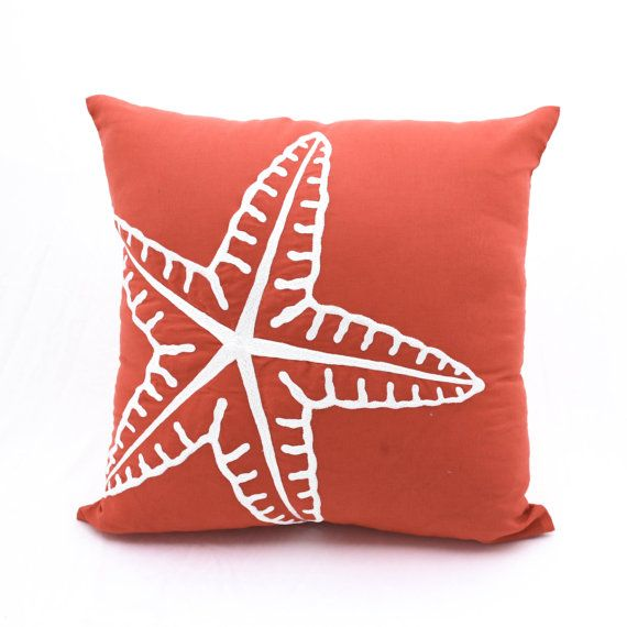starfish pillow cover nautical pillow case orange linen white starfish coastal decor cottage beach decor decorative pillow for couch