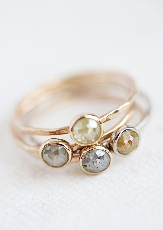Rose cut diamond ring 14k yellow gold rose gold by BelindaSaville