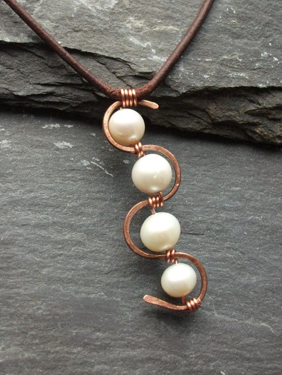 Leather Freshwater Pearls and Copper Necklace by byNaturesDesign, $18.00