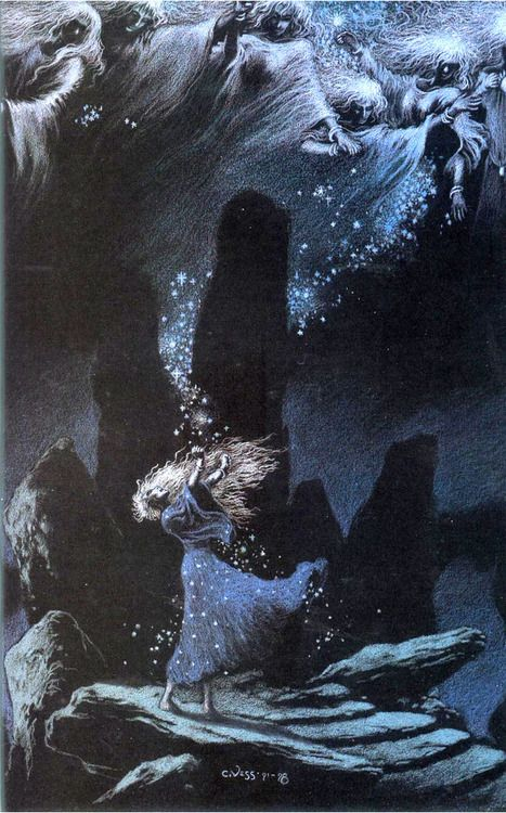 "Charles Vess' ""Channeling the power of the stars"", from the graphic novel version of Neil Gaiman's Stardust.:"