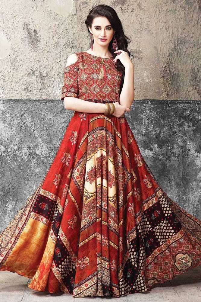 3524e2f7edf5 Designer Indian Bollywood 7 mtrs flair Long length Gown Dress Muslin Cotton  silk  Handmade  Indian