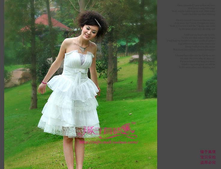 Tube top princess pompon formal dress bridesmaid white wedding dress skirt female formal dress short design 042-in Wedding Dresses from Apparel & Accessories on Aliexpress.com