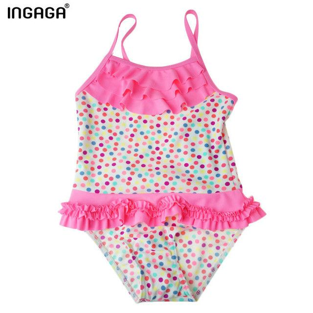 Little Girl Swimsuits Dot/Striped Ruffle One Piece Suits Swimwear Swim Bathing Suits