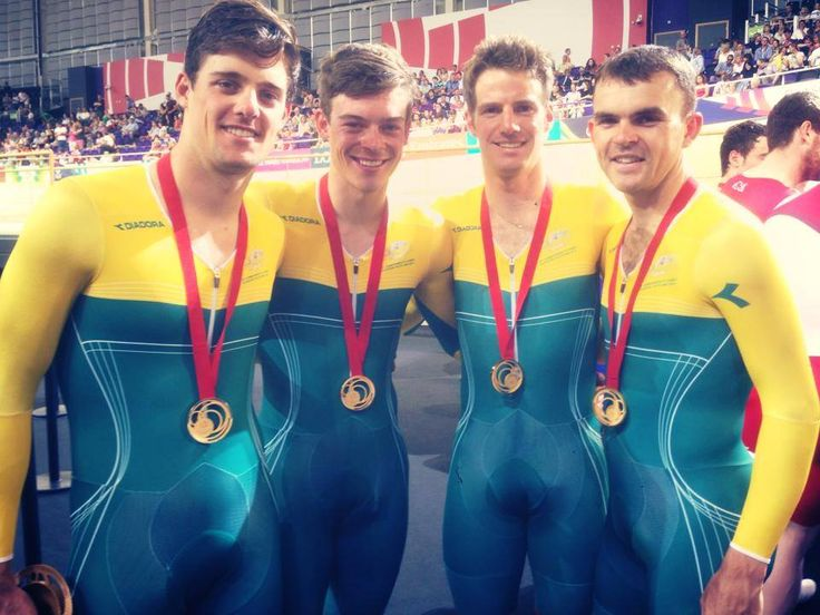 The Australian quartet of Jack Bobridge, Luke Davison, Alexander Edmondson & Glenn O'shea defend their 4000m Team Pursuit Gold medal @ The Glasgow Commonwealth Games. Vittoria Tyres supplied by GKA Sports.