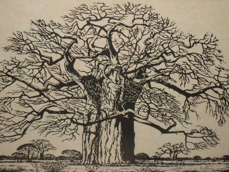 J H Pierneef (1886 - 1957) Linocut Baobab Transvaal with Studio Stamp 30 x 41