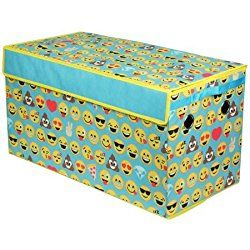 EmojiPals Blue All Over Oversized Collapsible Nursery Storage Toy Trunk