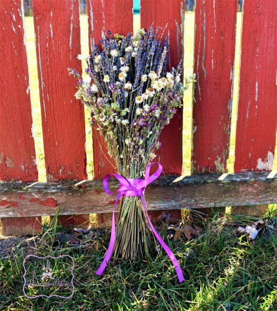 Rustic Herbal Bouquet. Lavender, Pink Santa Cruz Oregano and Ammobium.  Bohemian Bride's or Bridesmaid bouquet.  Home/Kitchen Decor.