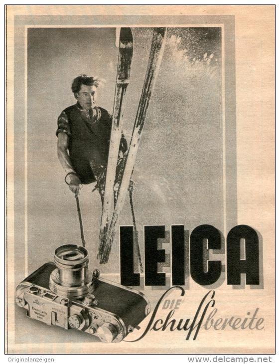 Original-Werbung/ Anzeige 1941 - LEICA KAMERA / MOTIV SKI - ca. 120 x 160 mm