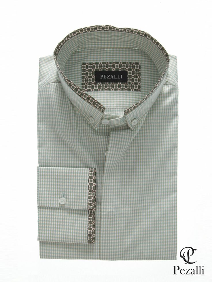 100% Egyptian Cotton shirt in white and soft green checks. Designer button down collar and cuff tip.