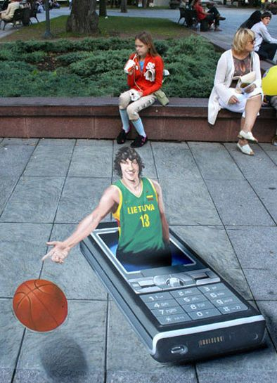 3D sidewalk art with a Sony Mobile phone from Lithiuania