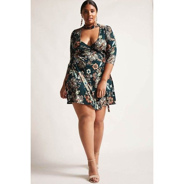 Forever21 Plus Size Mock Neck Wrap Dress ($35) ❤ liked on Polyvore featuring plus size women's fashion, plus size clothing, plus size dresses, green, white cut out dress, white wrap dress, cut-out dresses, green wrap dress and white dress