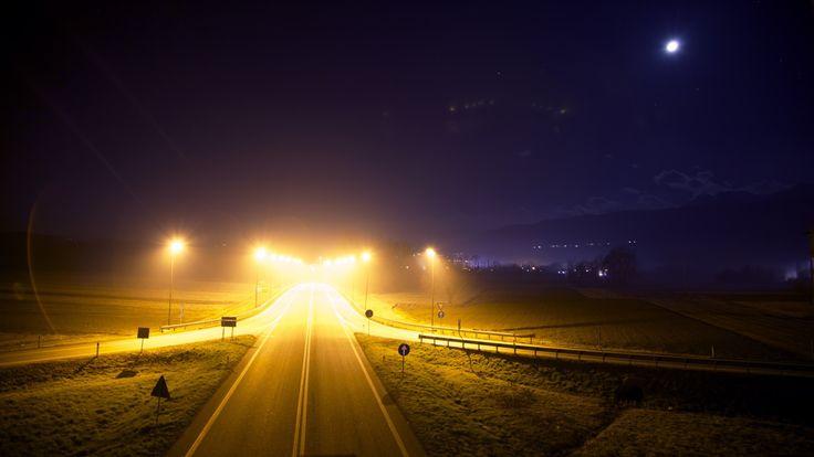 Road, sky, lights, night