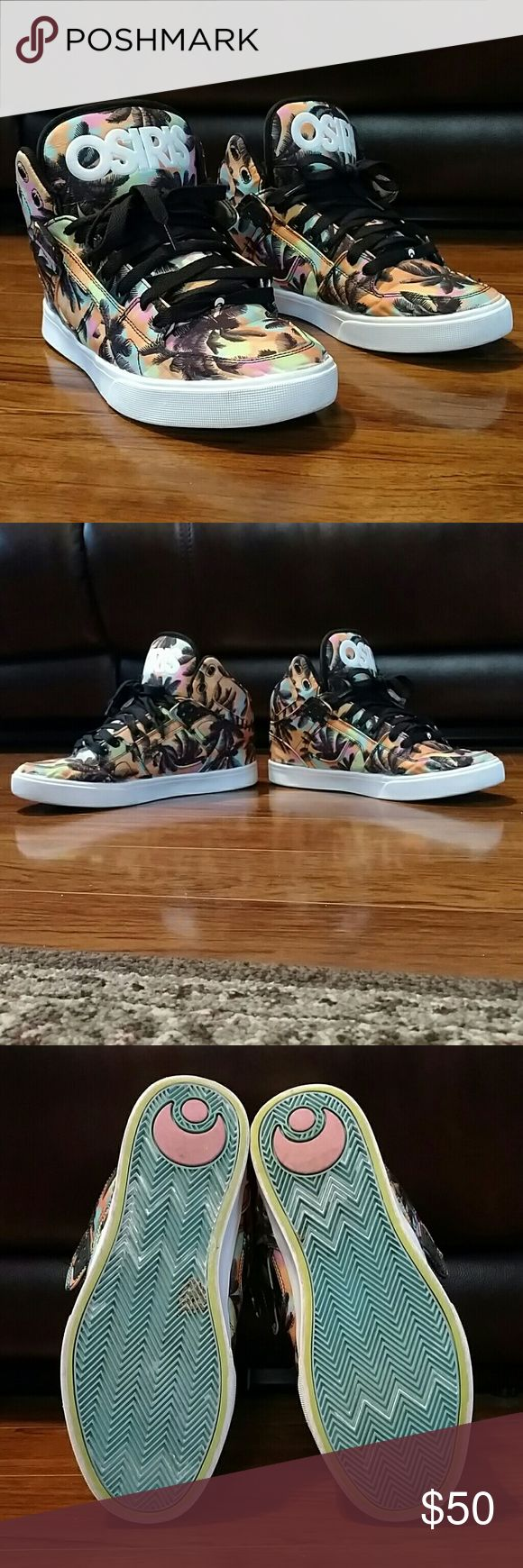 Osiris Palm Tree Shoes - Osiris Shoes with Palm Tree Print - Model: NYC 83 VULC - Excellent Condition / Barely Worn - Size: 10 Osiris Shoes