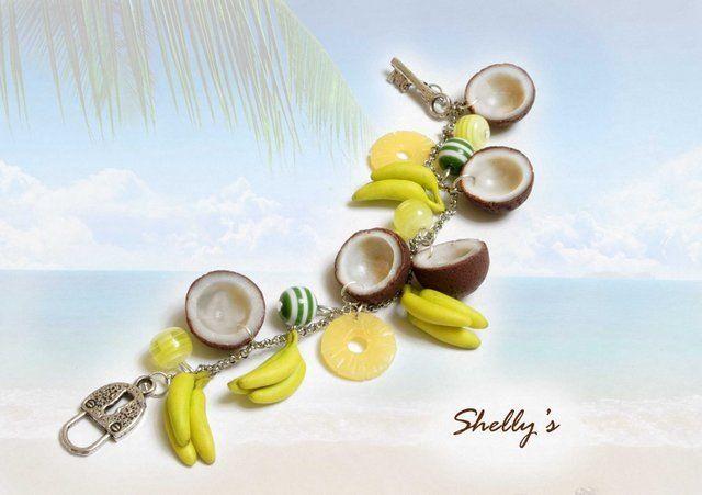 bracelet noix de coco et ananas en pâte polymère par Shelly's