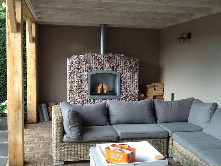 17 beste afbeeldingen over terrasoverkapping met terrashaard op pinterest tuinen open haarden - Veranda met stenen muur ...